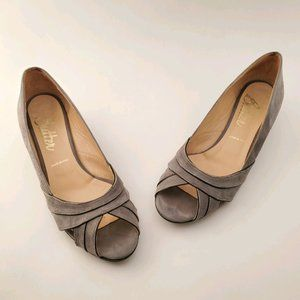 Butter | Gray Suede Peep Toe Low Wedge Shoes 8
